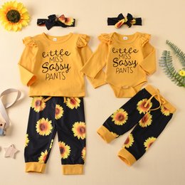 Newborn Baby Girls Clothes 3Pcs Set Cotton Long Sleeves Letter Print T-shirt+Pants+Headband Infant Toddler Clothing Outfits on Sale