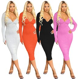 Wholesale long sexy hooded dresses resale online – Sexy Backless Casual Dresses Woman Designer Zipper V Neck Hooded Bodycon Dress Womens Autumn Long Sleeve Holiday Clothing