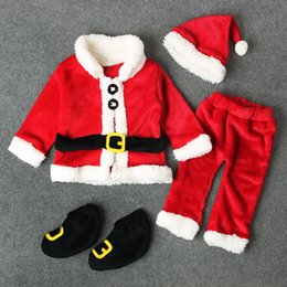 high collar costume Australia - Infant Kids Costume Santa Claus Long Sleeve Tops+Pants+Hat+Socking New High Quality 4PCS Christmas Costume Baby Boy Clothes Set