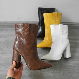 block brown UK - Brand Design Faux Leather Ankle Boots for Women Square Block Heel Short Boots Ladies Yellow Black Brown White Boots 2019 Winter LJ200919