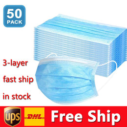 DHL Free Shipping Disposable Masks 50pcs Protection and Personal Health Mask 3-Layer Facial Cover with Earloop Mouth Face Sanitary Masks on Sale