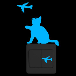 wall stickers restaurants 2020 - Funny Cat and Airplanes Glow in the Dark Wall Switch Sticker Kids Room Restaurant Hotel Nursery DIY Decoration Luminous