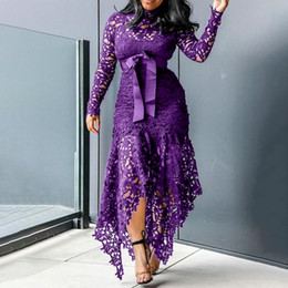 2020 Lace Floral Hollow Out Dress Women Long Sleeve Fashion Ruched Neck Dress Party Formal High Waist Maxi Irregular Hem Dress