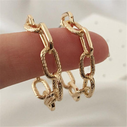 chain link hoop earrings Australia - New Design Korean Style Gold Color Linked Chain Shape Hoop Earrings 2 Type Hoop Earrings for Women Vintage Party Fashion
