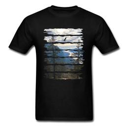 Wholesale european style clothing big men resale online – designer Simple Style Picture T Shirt European Big Size Landscape Mountain Peak Birds Fitness Tshirts Men Fashion Clothes Father s Day