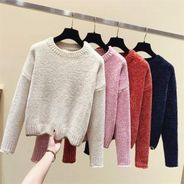 Wholesale long womans pullover resale online - Womans Knit Long Sleeved Tops New Soild O neck Loose Keep Warm Sweater Autmn Winter Fashion Ladies Casual Pullovers Korean