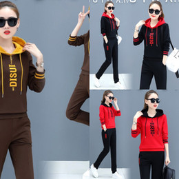 Wholesale korean women sports suit for sale – designer Spring casual sports suit for women spring and autumn new Korean style fashion large sweater size loose sweater two piece suit Western