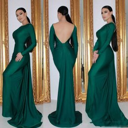 emerald green gold lace UK - Sexy Backless Emerald Mermaid Evening Dresses Long Sleeves Cheap Simple Satin Formal Event Wear Prom Party Gowns Sweep Train Custom Made