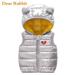 red baby vest UK - 2020 Hooded Child Waistcoat Children Outerwear Winter Coats Kids Clothes Warm Cotton Baby Boys Girl Silver Vest For Age 1-5 Yrs