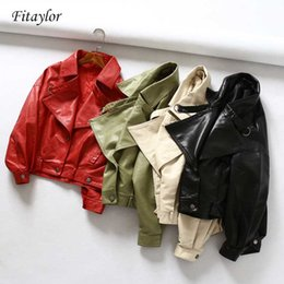 Fitaylor donne Faux Leather Jacket pipistrello manica Vintage motociclista del rivestimento del cappotto corto Zipper Motore PU Red Coat Leather Spring Street
