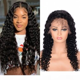 nature human hair inches Canada - Deep Wave Lace Front Wigs 8-24 Inch 360 Lace Frontal Wig Mongolian Human Hair Curly Wigs Pre Plucked Hairline