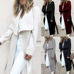 Wholesale ladies white trench coat resale online - Womens Winter Lapel Button Long Trench Coat Jacket Ladies Overcoat Outwear Ladies jacket best gift warm winterdirect sales