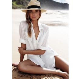 Опт Женщины пляж сексуальный с длинным рукавом сплошной цвет карманные рубашки платье солнцезащитный купальник