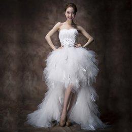 Mrs Win Wedding Dress Strapless Front Short Beck Long Ball Gown Princess Luxury Feather Wedding Dresse Vestido De Noiva