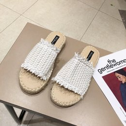 flax clothing NZ - Pretty2020 Slipper Flax Other Clothes The Summer Series One Word Sandals Fisherman Shoe Woman