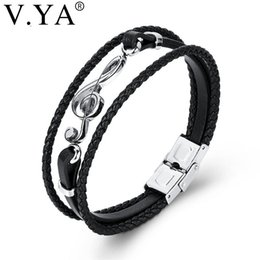 music note bangle NZ - V.YA Drop Shipping Stainless Steel Musical Notes Women Men Leather Bracelets Punk Rope Chain Music Fans Unique Bangles For Male