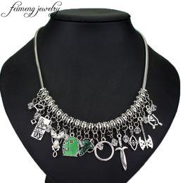 Wholesale green snake movie online – design feimeng jewelry Movie Choker Necklace Elven Leaf Arwen Evenstar Pendant Sword Green Door Locket Star Necklace Fashion Acc