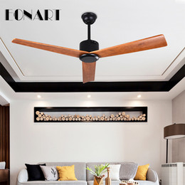 dc motor remote control Australia - EONRAT 52 Inch DC motor European 3-leaf solid wood decorative ceiling fan with remote control 110-220Vac roof fan without lamp