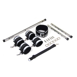 Set pole,Stainless Steel for Bondage Spreader Cuffs toys Double Metal couple Adjustable SM Bar Sex Ankle Handcuffs Fabeh