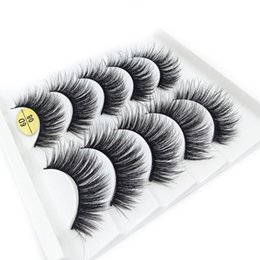 mink false eyelashes wholesale Australia - 5 Pairs 6D Faux Mink False Eyelashes Long Wispies Lashes Handmade Cruelty-free Extension Criss-cross Natural Eyelashes Makeup