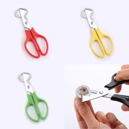 red cutter UK - Quail Egg Cutter Scissors Stainless Steel Quail Egg Scissors for Home Kitchen Green Yellow Black Red DWB1955