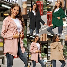 Wholesale thin overcoat for sale – winter Women Hooded Casual Thin Soft Jacket Pocket Long Sleeve Hoodies Overcoat Autumn Winter Elegant Coats Solid Color Outwear Apparel GWF1851