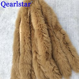 Discount men real fur scarves Qearlstar Real Tails Fur Collar Woman Man Fashion Winter Jackets Decor 10 pieces lot Scarves Wholesale special 74*12cm Zxx01