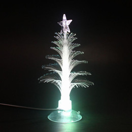 Discount optic fiber night light Christmas Tree LED Night Lights Home Decoration Color Changing Fiber Optic Night Lights