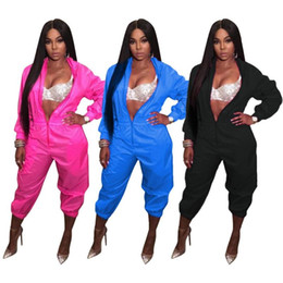 Wholesale women jumpsuits resale online – New Women Sexy Jumpsuits Zipper Neck Playsuits Casual Long Sleeve Sports Style Playsuit Bodycon Jumpsuit One Piece Overalls