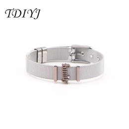 stainless steel slide bracelets NZ - TDIYJ Design Jewelry Stainless Steel Coffee Family Slide Charms Keeper Bracelets Set as Family Love Gifts