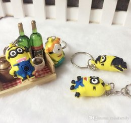 minion key rings UK - 2015 Hot Keychain Dhl Styles 3d 500pcs lot Ring Despicable Key Minion Me Sale Figure Mix Free Action 18 Cute Keyring Order qylhH allguy