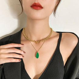 fresh net NZ - European and American Luxury Clavicle Chain Net Red Temperament Necklace Lady Beautiful Fresh Imitation Emerald Zircon Pendant Necklace
