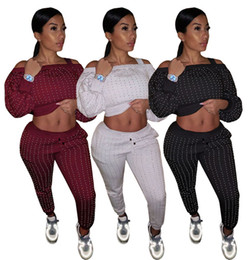 Wholesale rhinestone jogging suits resale online – Women Rhinestone pieces sets jogging suit solid color outfits s xl hoodie pants tracksuits Fall winter pullover leggings sweatsuits