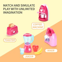 toys cooking UK - Kid Kitchen cooking toy Fun Simulation juicer Simulation toaster cooking toy 4 in 1 Kid Playhouse toy Girl birthday Gift 2 styles