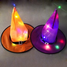 Wholesale witches costumes for halloween for sale – halloween Halloween Witch Hat Hanging Lighted Glowing Witch Hat for Yard Tree Halloween Costumes Masquerade Props Party Decoration EWD1881