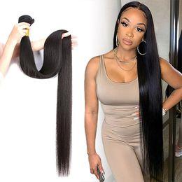 30 32 34 36 38 40 Inch Brazilian Body Wave Straight Hair Bundles 100% Human Hair Weaves Bundles Remy Hair Extensions on Sale