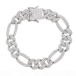 12mm figaro chain UK - 2020 New 12mm Iced Out Cubic Zirconia Figaro Chain Bracelet Silver Color Prong Miami Cuban China CZ Bracelet Men Hip Hop Jewelry