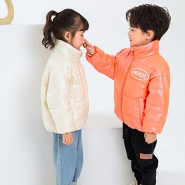 bright coating NZ - Winter New Style Boys And Girls Coat Children Clothing Bright Pearlescent White Duck Down Jacket Warm Stand Collar Jacket 2020