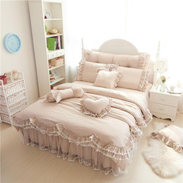 ruffle bedding set 2020 - Ruffles lace luxury bedding sets 100% cotton Full Queen King size princess bed set 4 7pcs duvet cover+Bedskirt+pillowcas