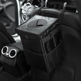 Venta al por mayor de Resistente al agua de la basura del coche puede cubo auto del coche Accesorios Organizador vertedero de basura para la basura Can Coches de almacenamiento portátil que se puede cerrar Bolsillos