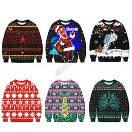 Wholesale dog sweatshirts hoodies for sale – custom Unisex Christmas Hoodies Cartoon Santa Claus Dogs Printed Sweatshirts Long Sleeve Pullover Blouse Xmas Tops Autumn Winter Sweater D9303