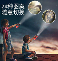 baby light toy UK - 24 Patterns Baby Sleep Light LED Flashlight Cartoon Dinosaur Projector Lamp 90 Rotary Early Education Projection Torch Children Toys
