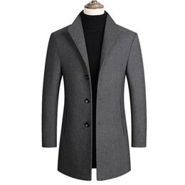 Wholesale mens winter trench pea coat resale online - Men Wool Blends Coats Trench Pea Coat Spring Winter New Solid Color High Quality Mens Wool Jacket Luxurious Brand Clothing