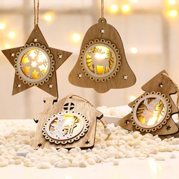 star layouts UK - Xmas Tree Pendant Wooden Luminous Star House Tree Bell Ornament Hanging Decorations Holiday Scene Layout