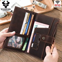 ticket wallets Australia - New Style Crazy Horse Leather Retro Passport Holder Leather Multi-Function Long Wallet Clutch Bag Ticket Holder Passport Holder