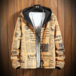 mens reversible jackets NZ - Januarysnow Spring Autumn Thin Windbreaker Jacket Mens Reversible Letter Print Street Couple Jacket Coat Young Male Hooded Bomber Outwear