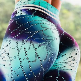 Discount sexy workout spandex pants Hot Women Leggings Push Up Elastic High Waist Fitness Leggings Female Sexy Workout legins Fashion Water droplets print P