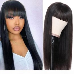 nature human hair inches Canada - Straight long Wigs Peruvian Remy or virgin Hair Mid-Length Human Hair Wigs For Women Natural Color Full Machine Made Wigs With Bangs