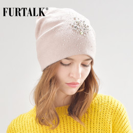 cashmere beanies for women Australia - FURTALK warm cashmere wool winter hat for women double lining women knit beanie fur hats for girls B013
