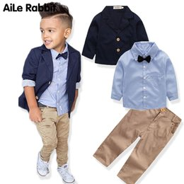 Wholesale pant coat gentleman resale online - Boys Clothing Gentleman Sets Jacket Shirt Pants set Kids Bow Children s Suits Coat Tops Stripe Apparel K1